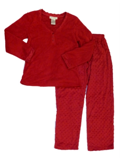 Of the Moment Womens Dimpled Red Velour Pajamas Fleece PJs Set at Sears.com