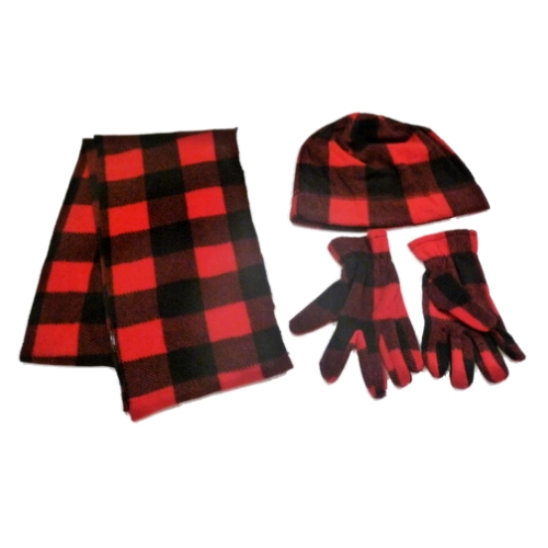 Arizona Boys Red & Black Checks Fleece Scarf Gloves Beanie Hat Set at Sears.com