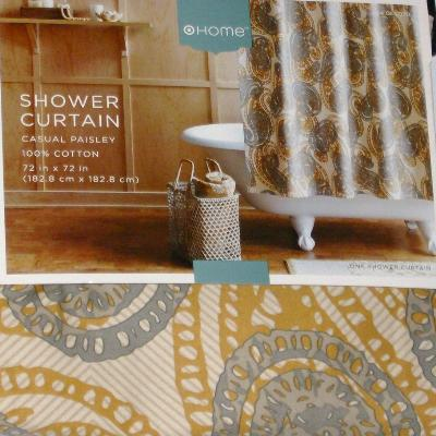 Gold Gray Paisley Fabric Shower Curtain Casual Bath EBay
