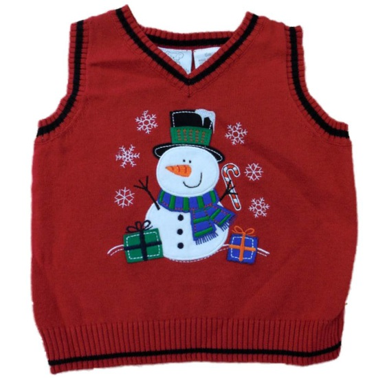 Koala Baby Infant Boys Red Knit Holiday Themed Snowman Sweater Vest