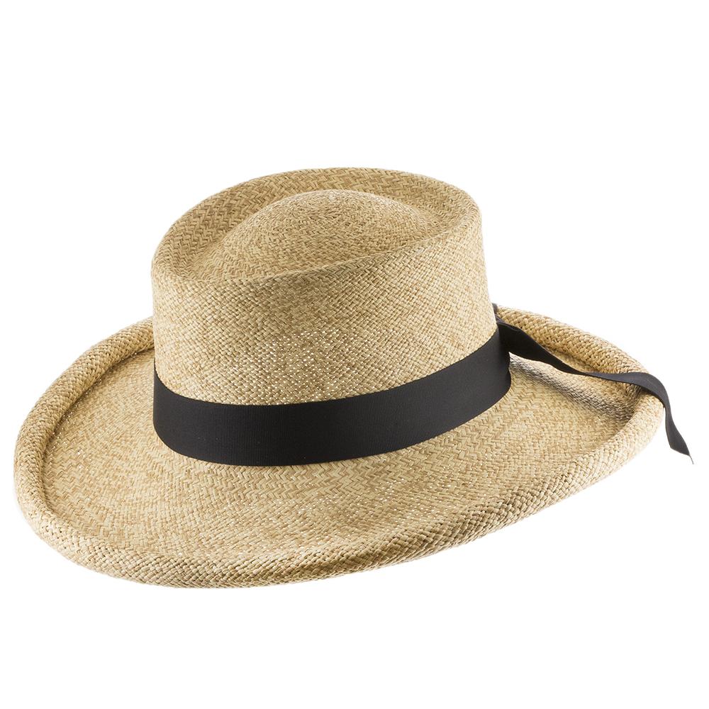 Malibu Gambler Straw Panama Hat with Rolled-Up Brim