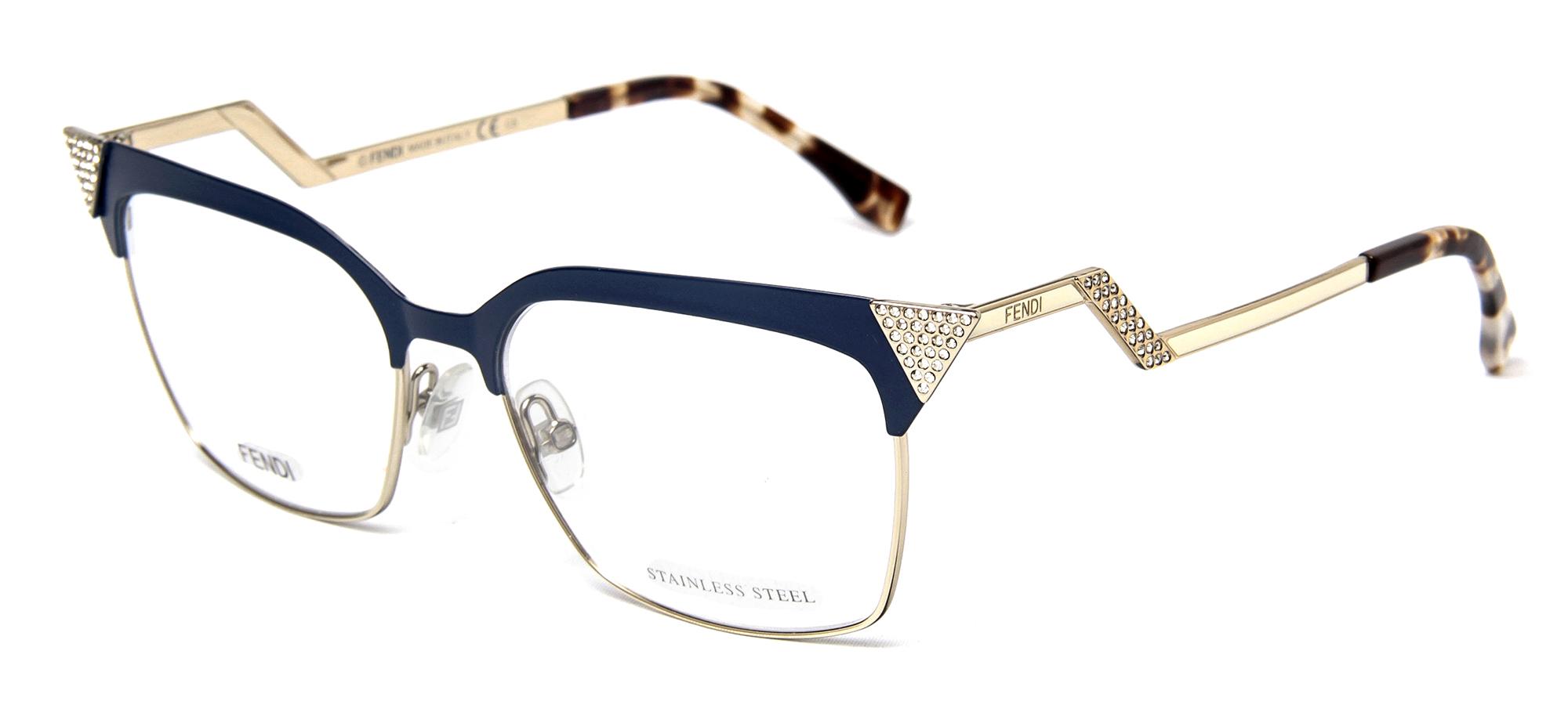 Fendi FF 0061 MTF Blue Gold Crystals Womens Cat Eye ...