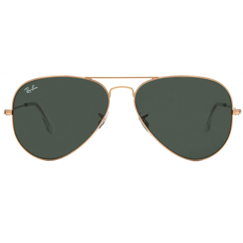 ray ban green glass golden frame  ray ban rb 3025 l0205 58mm arista gold green classic aviator sunglasses