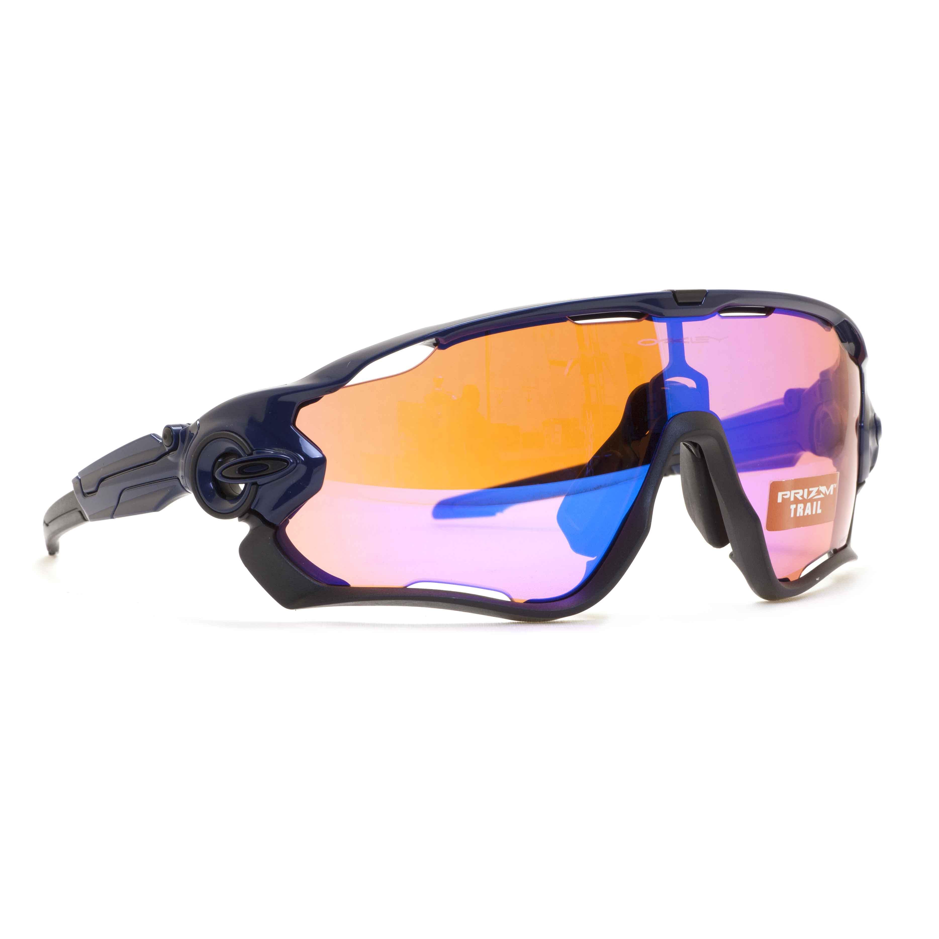 94174cefe9 Oakley JawBreaker OO9290-04 Polished Navy Blue Shield Prizm Trail Sunglasses