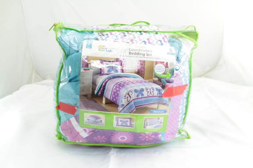 5 Piece Girl Purple Blue Butterfly Polka Dot Full