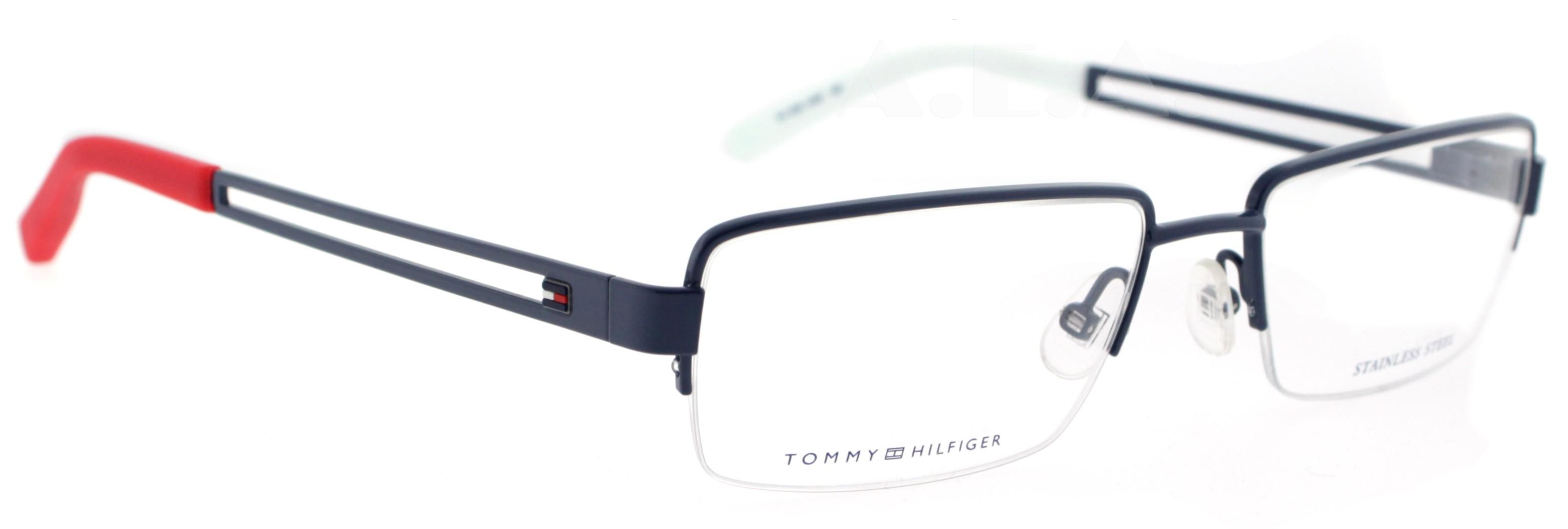 White Designer Eyeglass Frames : TOMMY HILFIGER TH 1024 UNX BLUE/RED/WHITE UNISEX DESIGNER ...