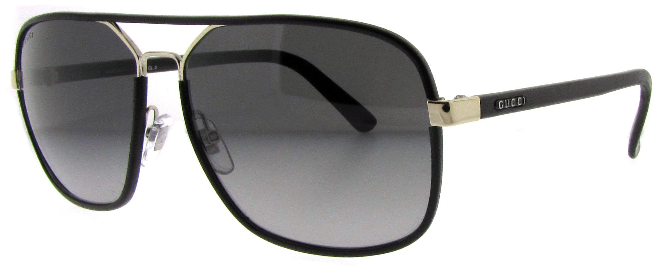 Gucci Sunglasses Leather Frame Aviator : Gucci GG 1943 s UZA Black Leather Aviator Sunglasses eBay