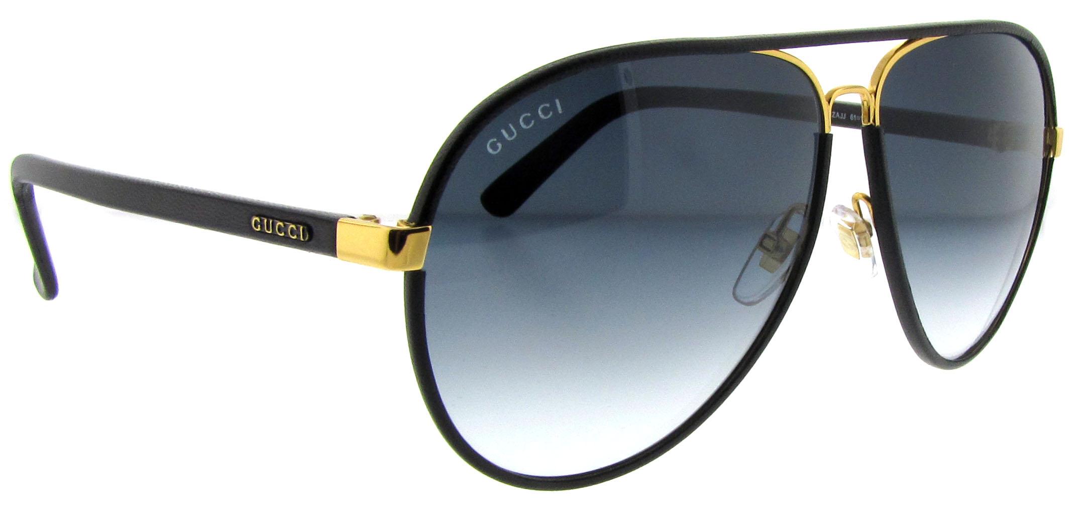 Gucci Sunglasses Leather Frame Aviator : Gucci GG 2887/S UZA Black Leather Unisex Aviator ...