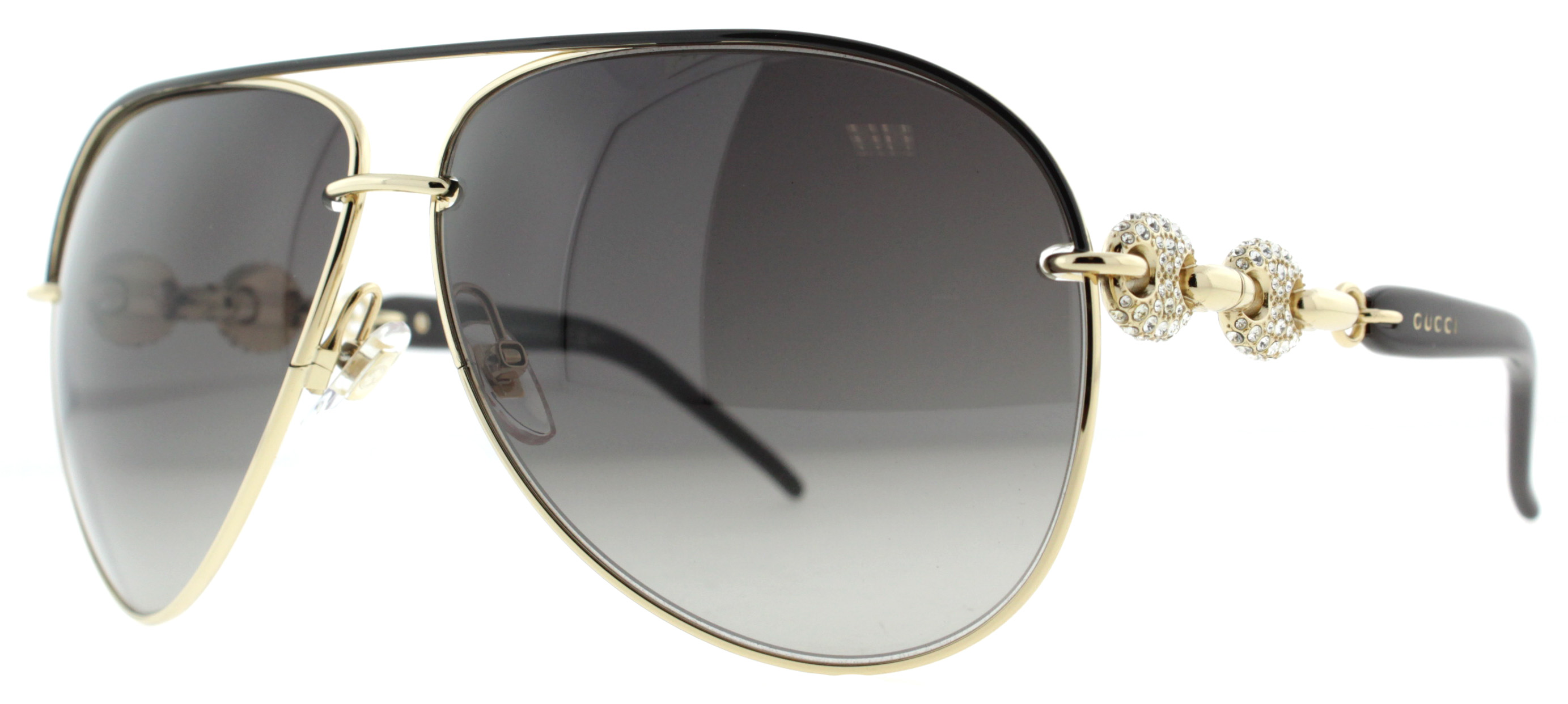 brown lens aviator sunglasses  gold/brown w/ crystals