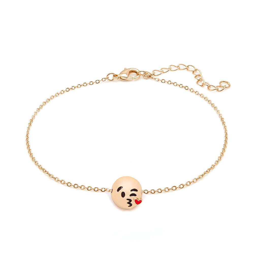 Emoji 18K Gold Plated Adjustable Cable Chain Ankle ...