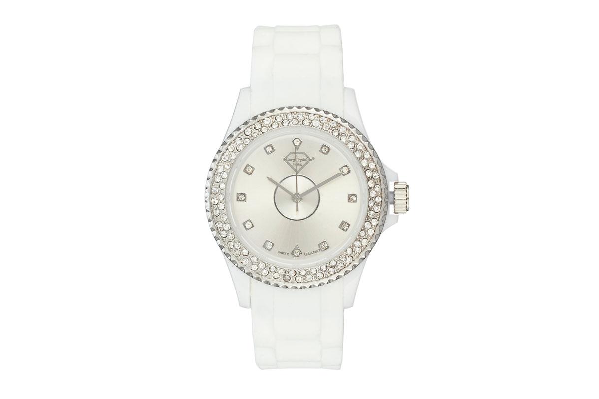 Luxury crystal paris silicon watch with swarovski crystals embellished bezel ebay for Swarovski crystals watch