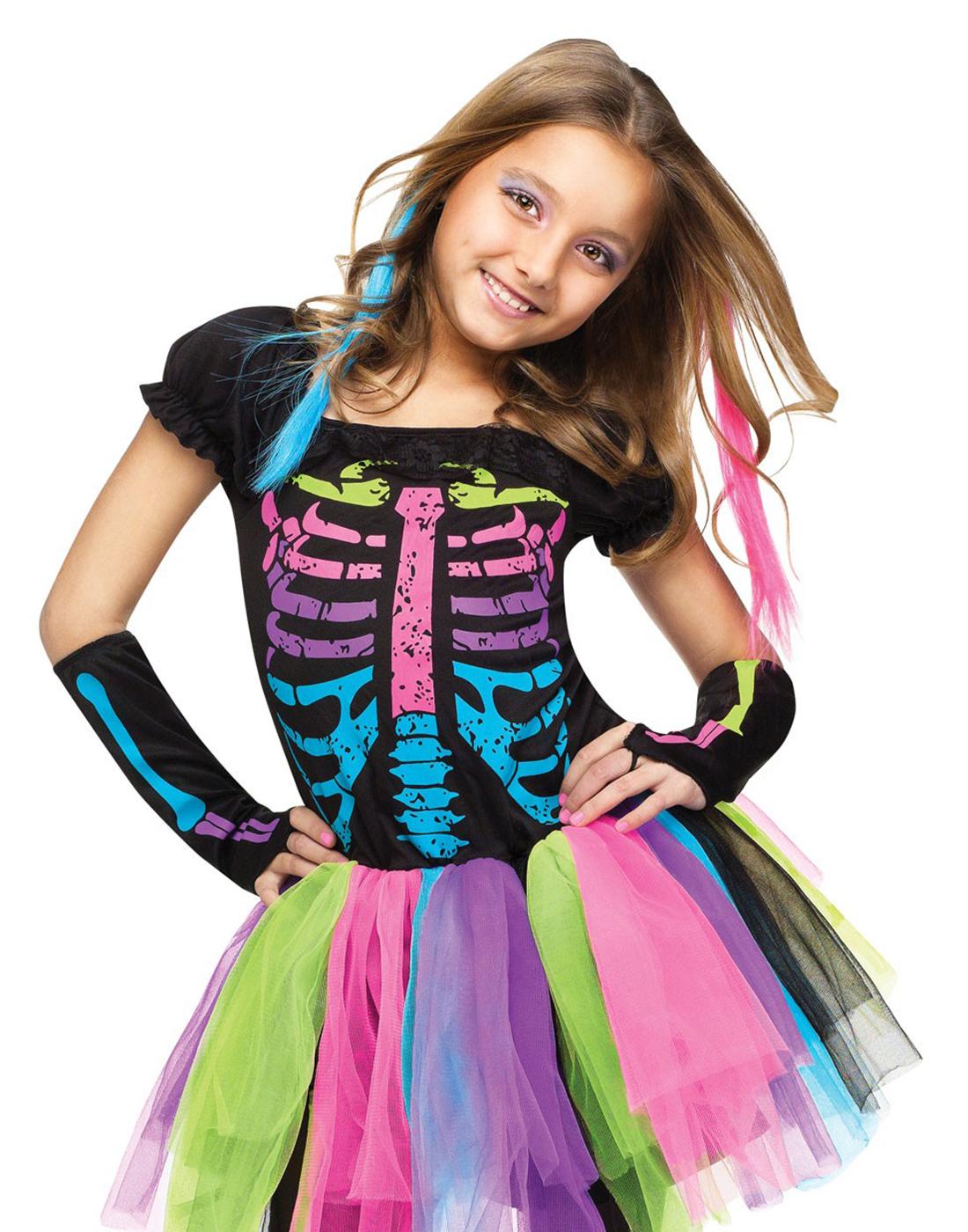 Funky Punky Bones Gothic Skeleton Girls Fancy Dress Halloween ...