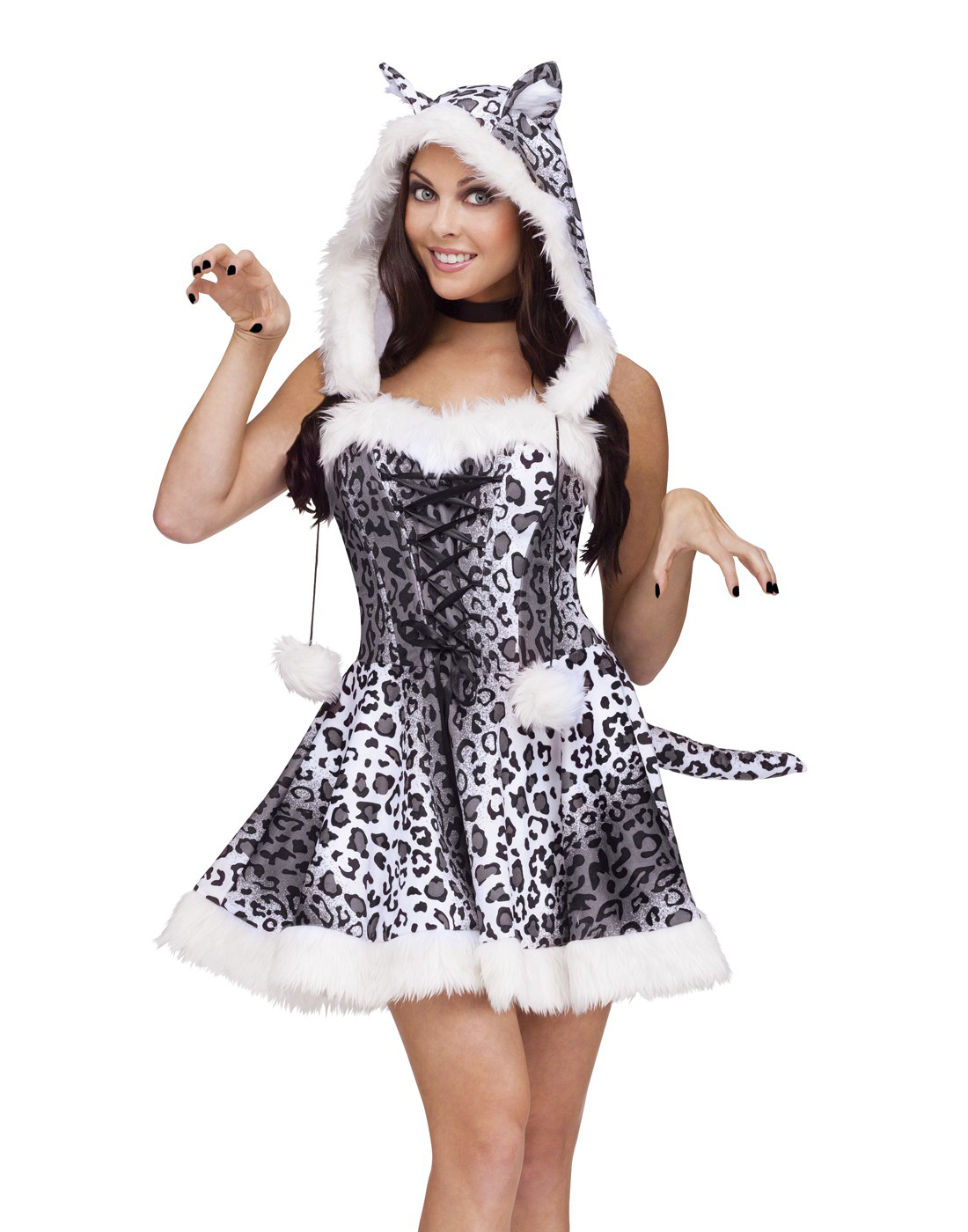 Adult Sexy Womens Catsuit White Cat Snow Leopard Adult Halloween ...