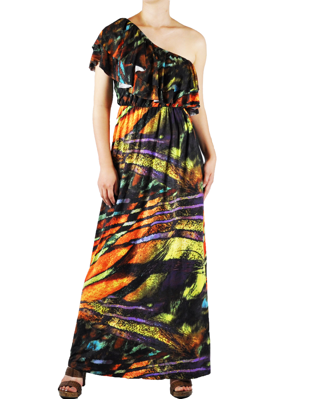 NawtyFox Sexy Multi Color One Shoulder Ruffle Long Maxi Evening Long Dress XS-L at Sears.com