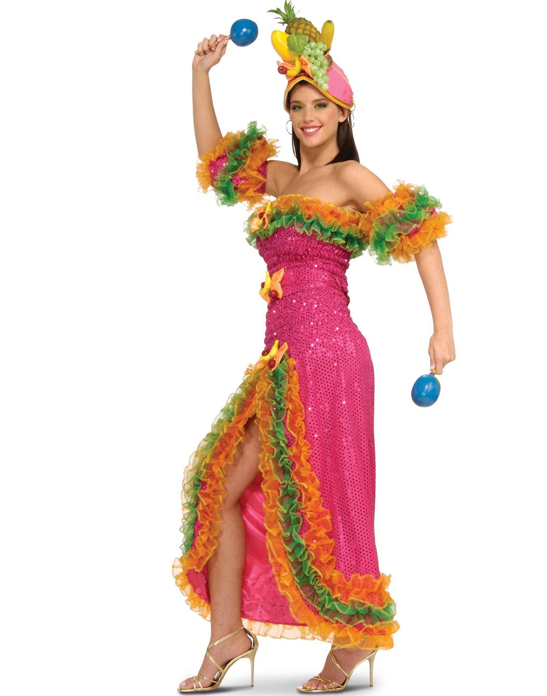 Sexy Multicoloured Carmen Miranda Fruit Princess Tropical