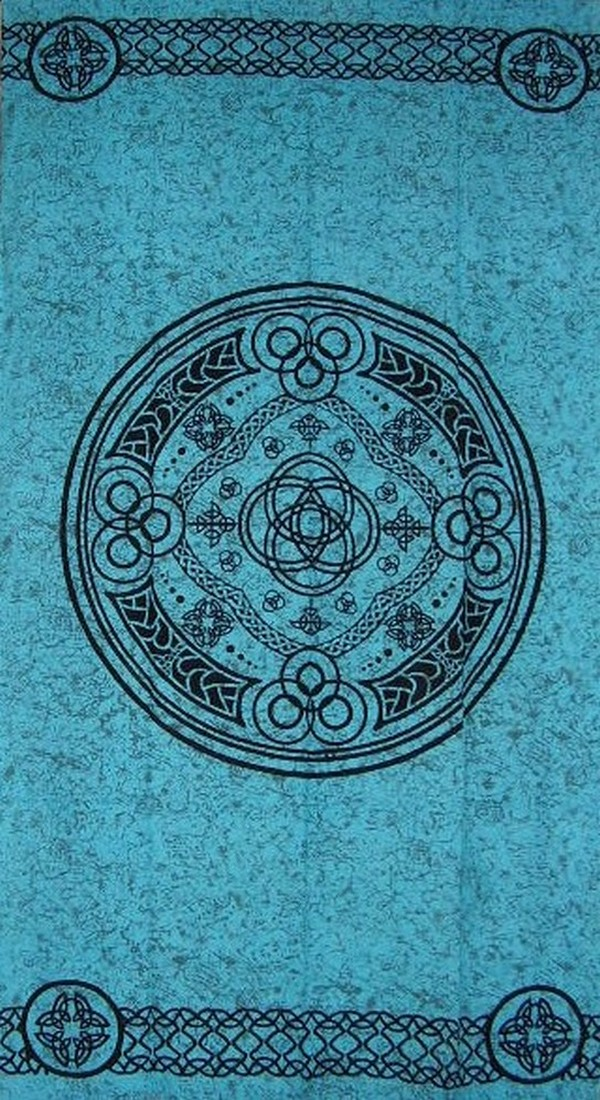 "Textiles of India Celtic Wheel of Life Cotton Curtain-Door Panel-46"" x 88""-Turquoise at Sears.com"