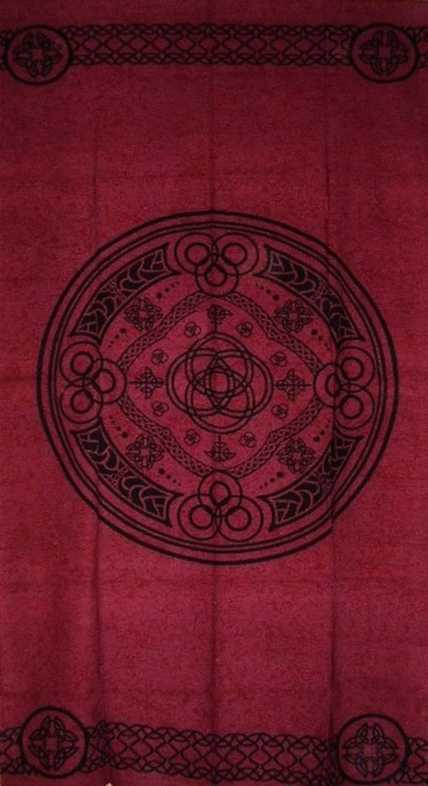 "Textiles of India Celtic Wheel of Life Cotton Curtain-Door Panel-46"" x 88""-Burgundy at Sears.com"