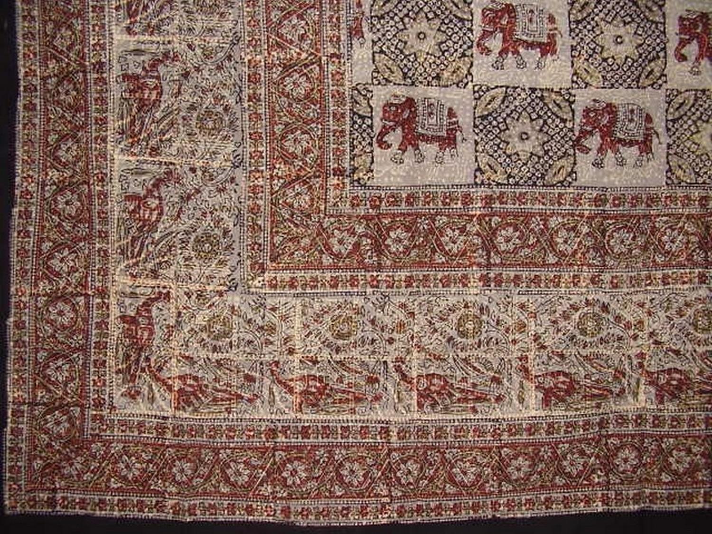Homestead Indian Block Print Cotton Tablecloth 90