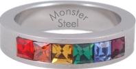 Gay-Pride-Lesbian-Stainless-Steel-Rainbow-Ring-Sz-6-13