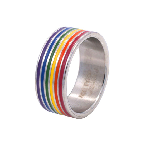 Enamel-Stainless-Steel-Gay-Pride-MARS-Men-Ring-Sz-5-13