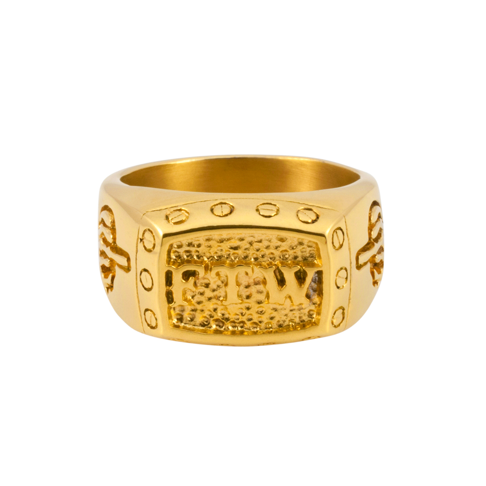 mens ftw middle finger gold stainless steel ring f the