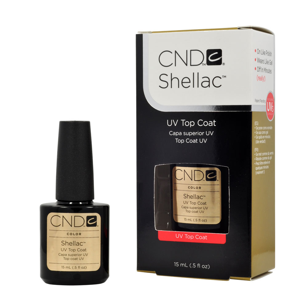 cnd shellac top coat gel uv nail polish 0 5 oz manicure soak off pedicure 1 2 ebay. Black Bedroom Furniture Sets. Home Design Ideas