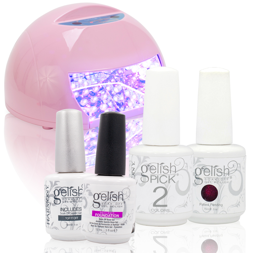 Gelish-CHOOSE-2-Nail-Polish-Base-Top-Coat-PINK-Round-LED-12W-Lamp-Gel-Pick