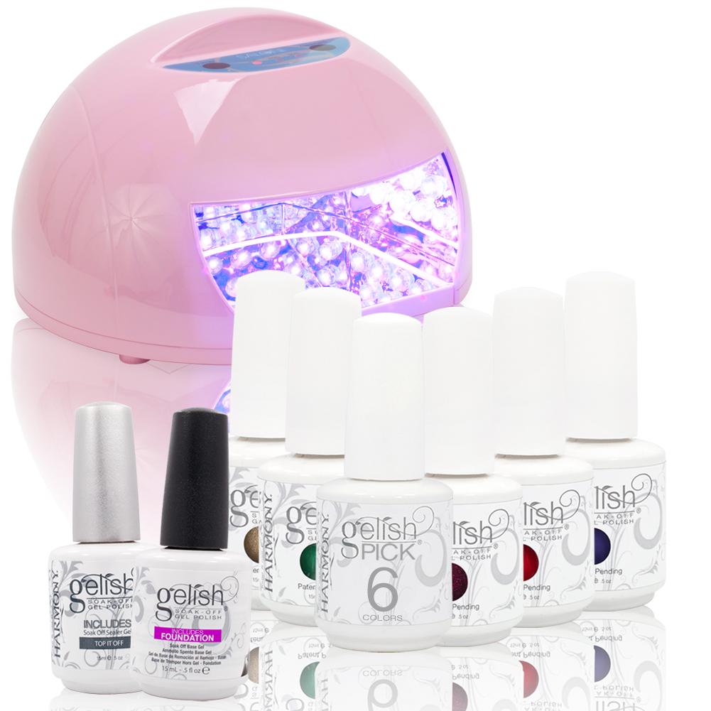 Gelish-CHOOSE-6-Nail-Polish-Top-amp-Base-Coat-LED-PINK-Round-12W-Lamp-Gel-Pick