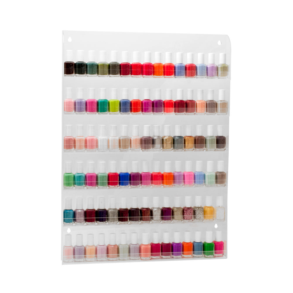 90 bottles clear acrylic 6 tier nail polish salon wall - Rangement vernis mural ...