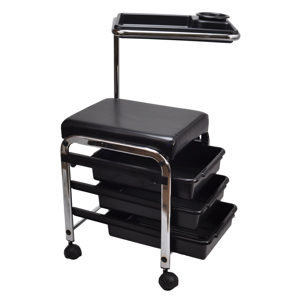 Black Pedicure Manicure Nail Salon Spa Cart Trolley Stool