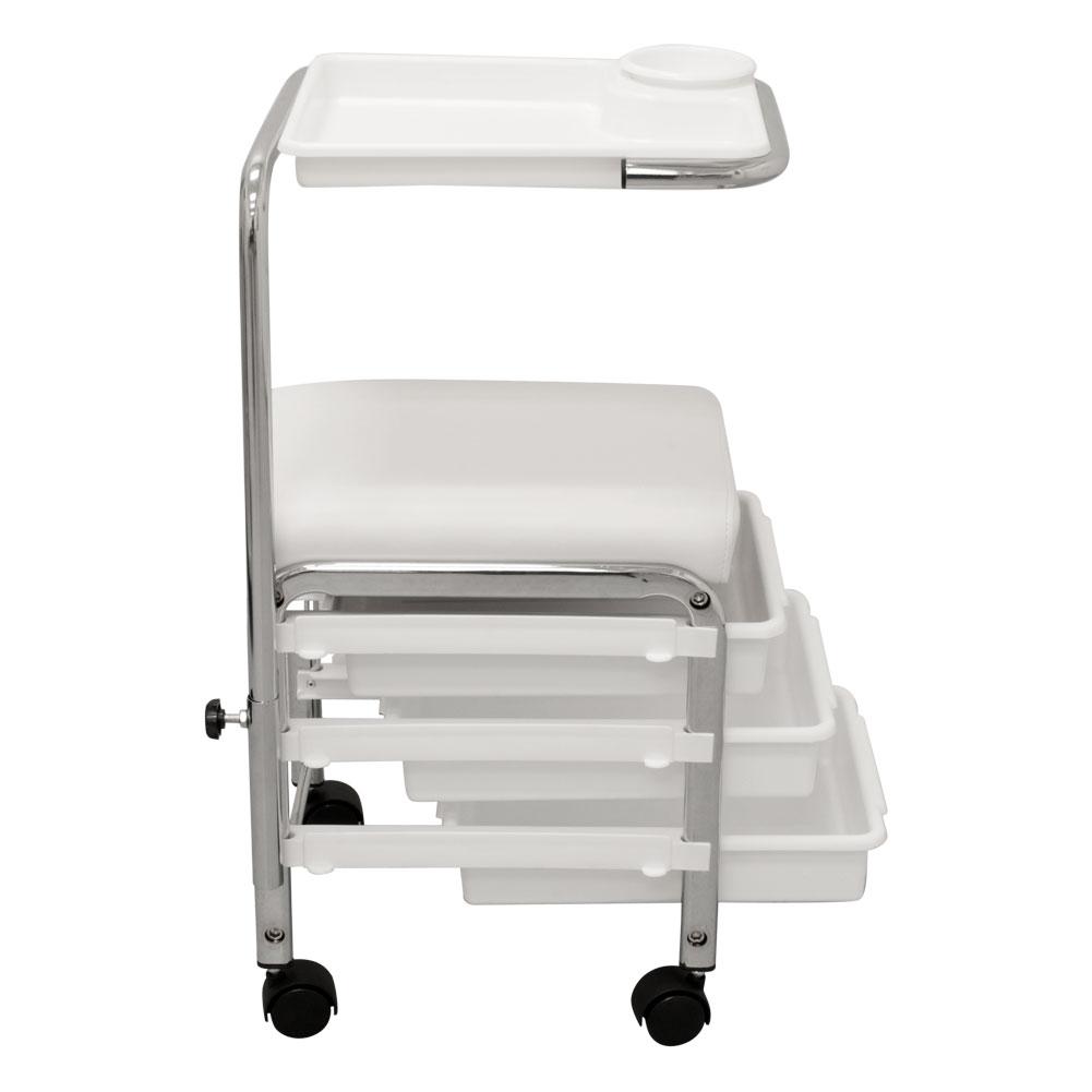White Pedicure Manicure Nail Salon Spa Cart Trolley Stool