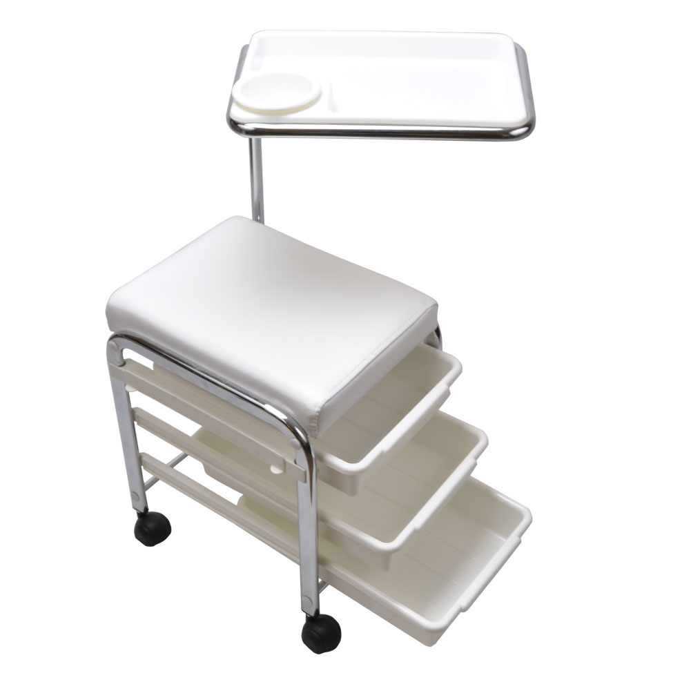 White Pedicure Manicure Nail Salon Spa Cart Trolley Stool