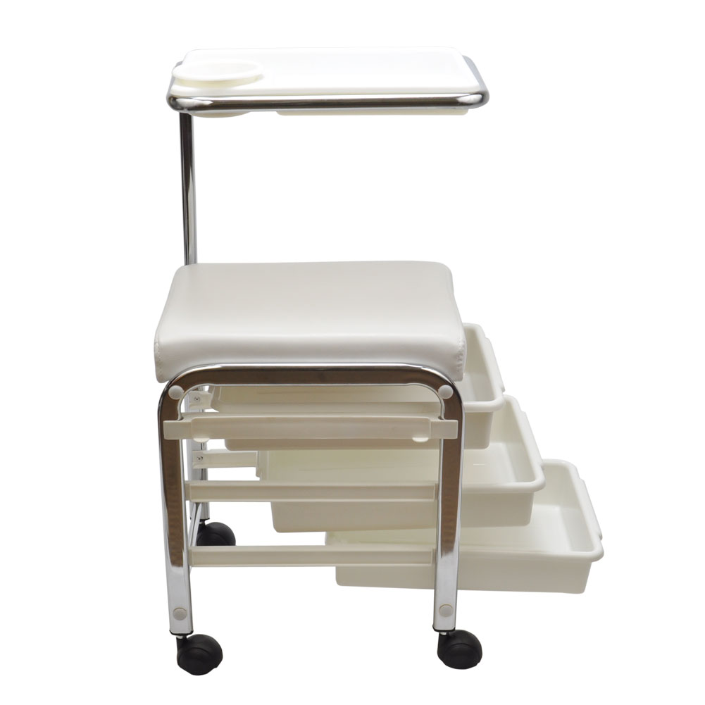 White pedicure manicure nail salon spa cart trolley stool for Salon manicure chairs