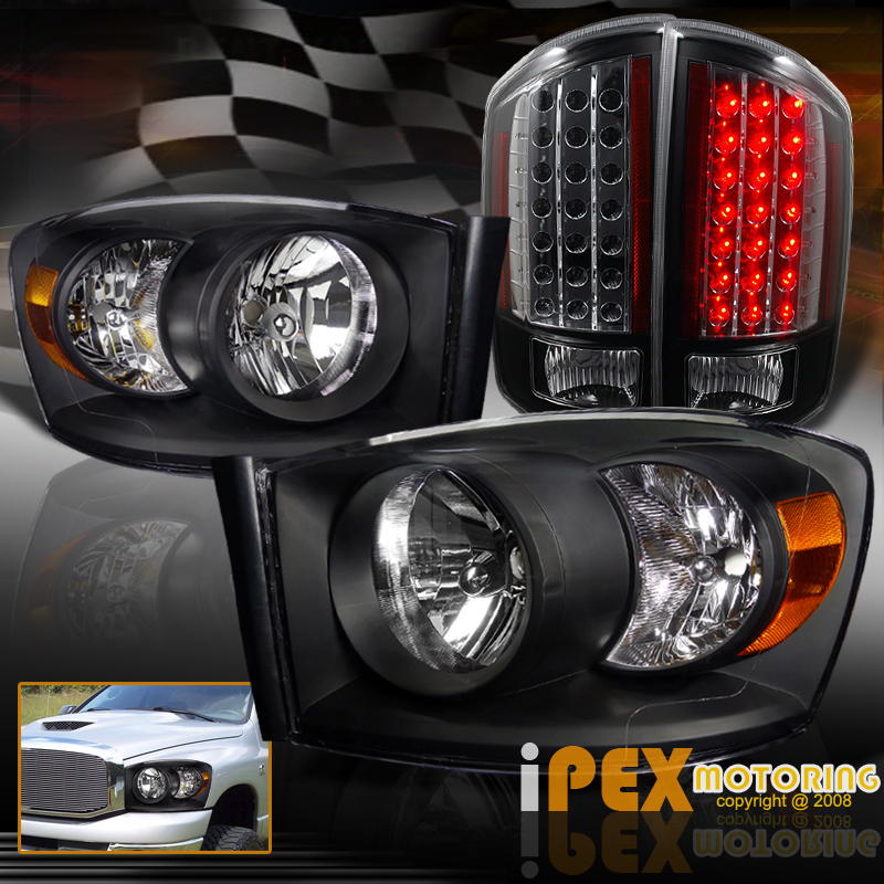 2008 dodge ram 1500 2500 3500 headlights w black led tail lights. Black Bedroom Furniture Sets. Home Design Ideas