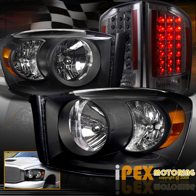 2007 2008 dodge ram 1500 2500 3500 headlights w led tail lights ebay. Black Bedroom Furniture Sets. Home Design Ideas