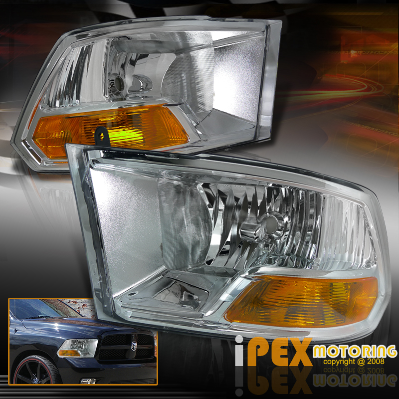 for 2009 2016 dodge ram 1500 2500 3500 chrome headlights. Black Bedroom Furniture Sets. Home Design Ideas