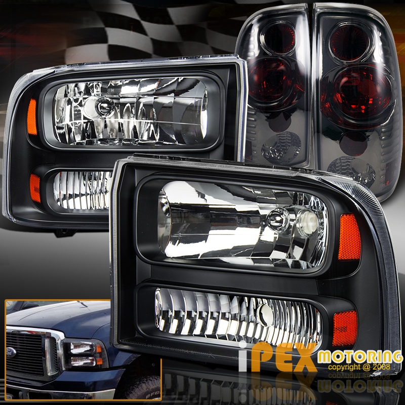1999 2004 Ford F250 Black Headlights Facelift To 2005