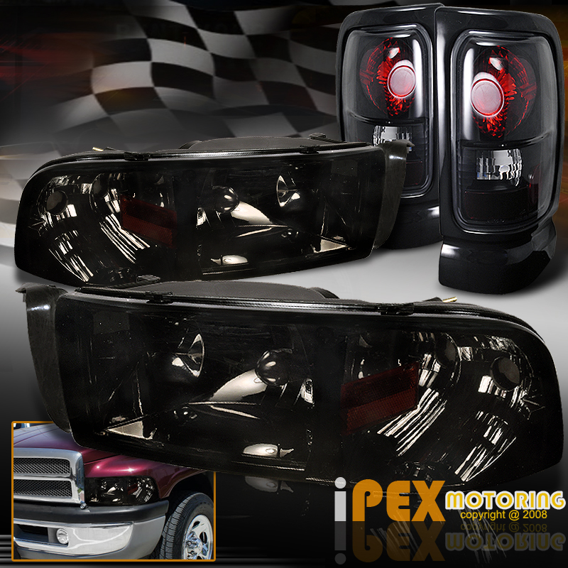 dodge ram 1500 2500 3500 shiny smoke headlights black. Black Bedroom Furniture Sets. Home Design Ideas