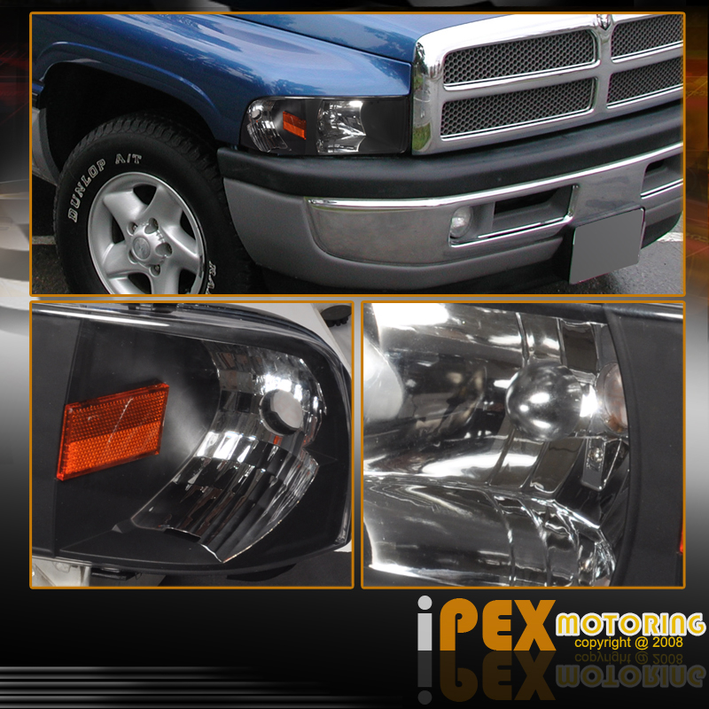 2001 dodge ram 1500 2500 3500 black headlights black smoke tail lights. Black Bedroom Furniture Sets. Home Design Ideas
