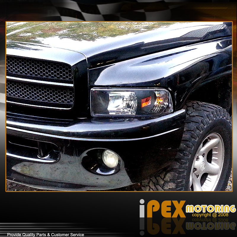 2001 dodge ram 1500 2500 sport black headlight black smoked. Black Bedroom Furniture Sets. Home Design Ideas