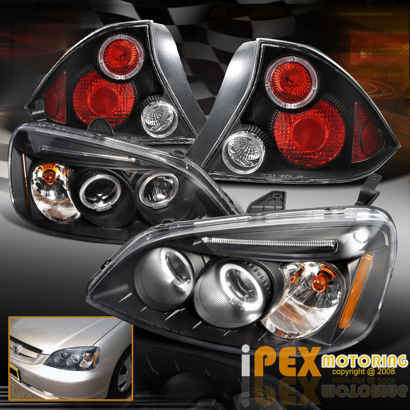 2001 02 2003 honda civic 2dr projector led headlight jdm. Black Bedroom Furniture Sets. Home Design Ideas