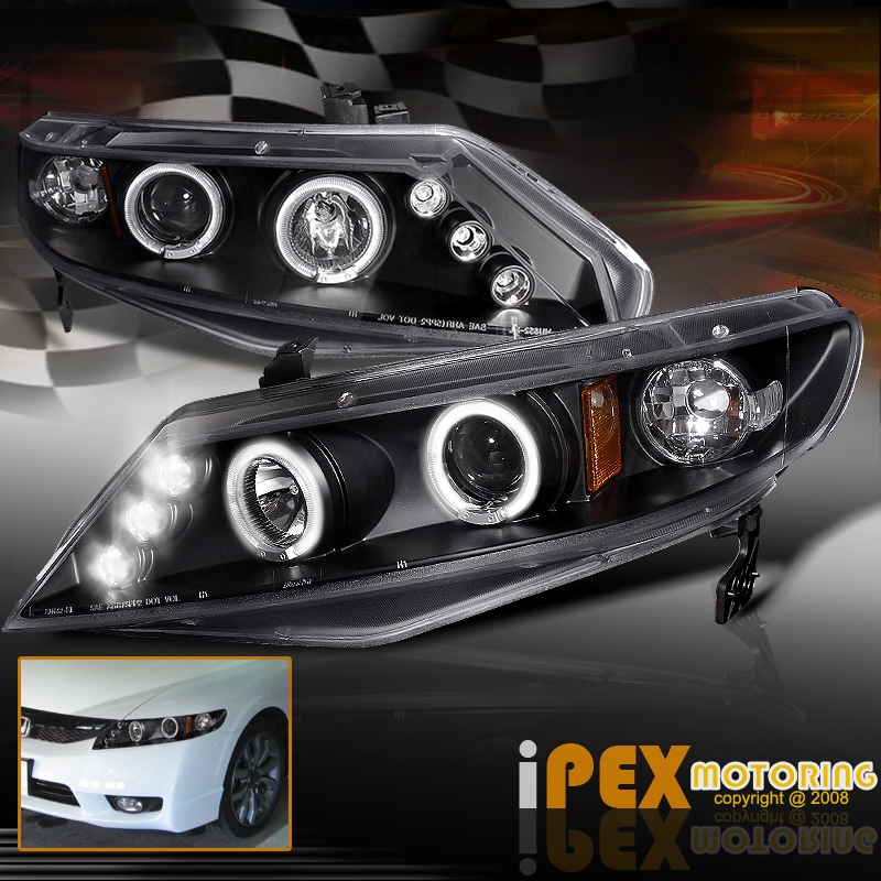 2006 2011 honda civic 4dr sedan twin halos projector led. Black Bedroom Furniture Sets. Home Design Ideas