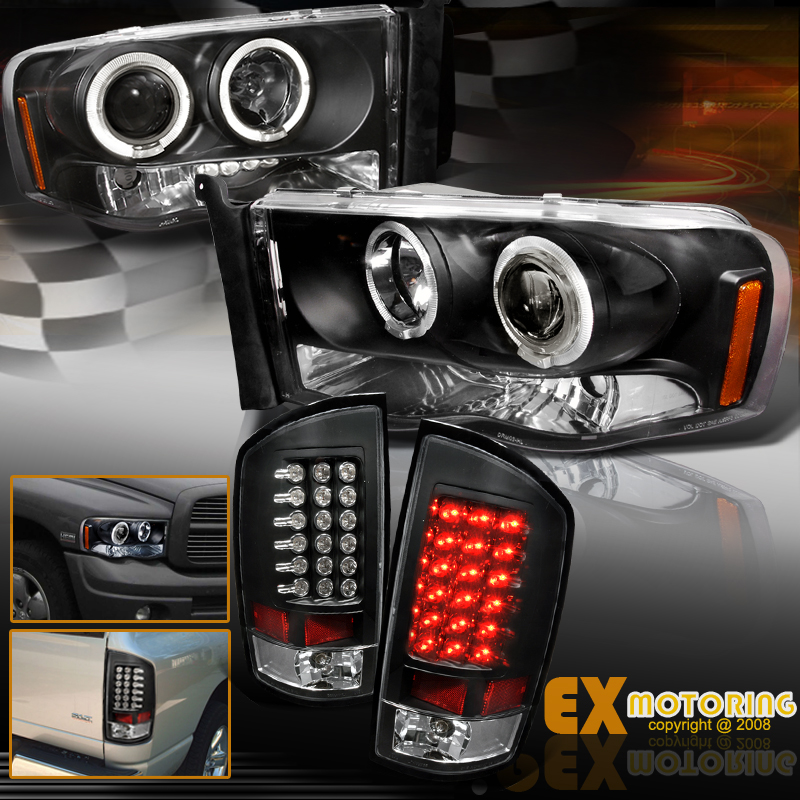 2002 2005 dodge ram 1500 2500 halos projector headlights led tail. Black Bedroom Furniture Sets. Home Design Ideas