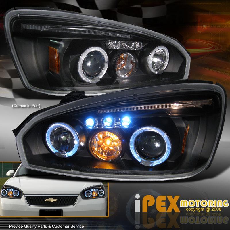Chevy Malibu Front Lights: 2004-2008 Chevy Malibu TWIN HALO LED Projector Headlights