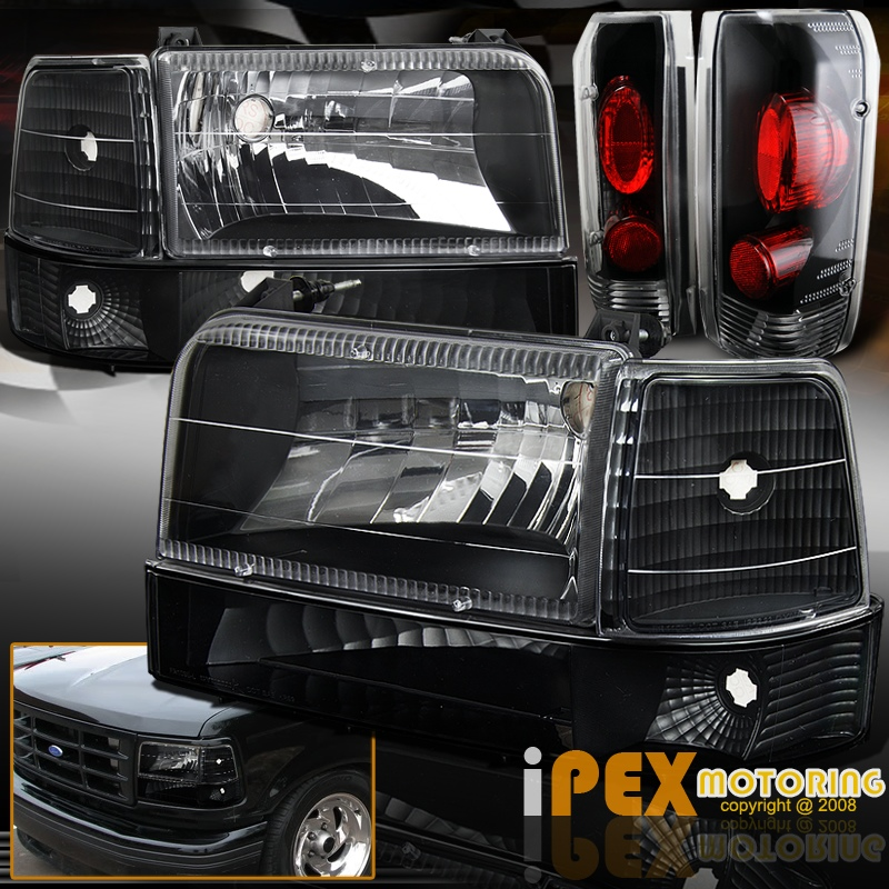 1992 1996 Ford F150 F250 F350 Bronco Black Headlight W