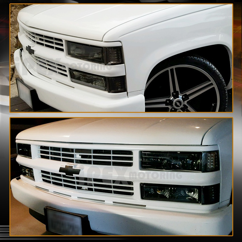 1994 1998 Chevy Silverado Tahoe Smoke Headlights Combo W