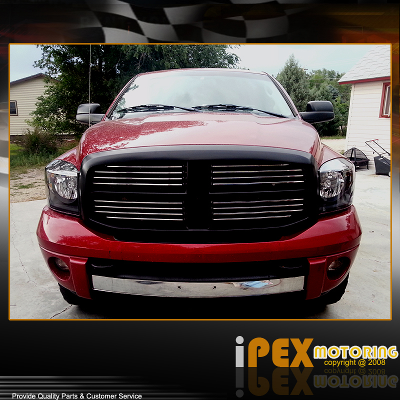 set of 2006 2008 dodge ram 1500 2500 3500 black headlight. Black Bedroom Furniture Sets. Home Design Ideas