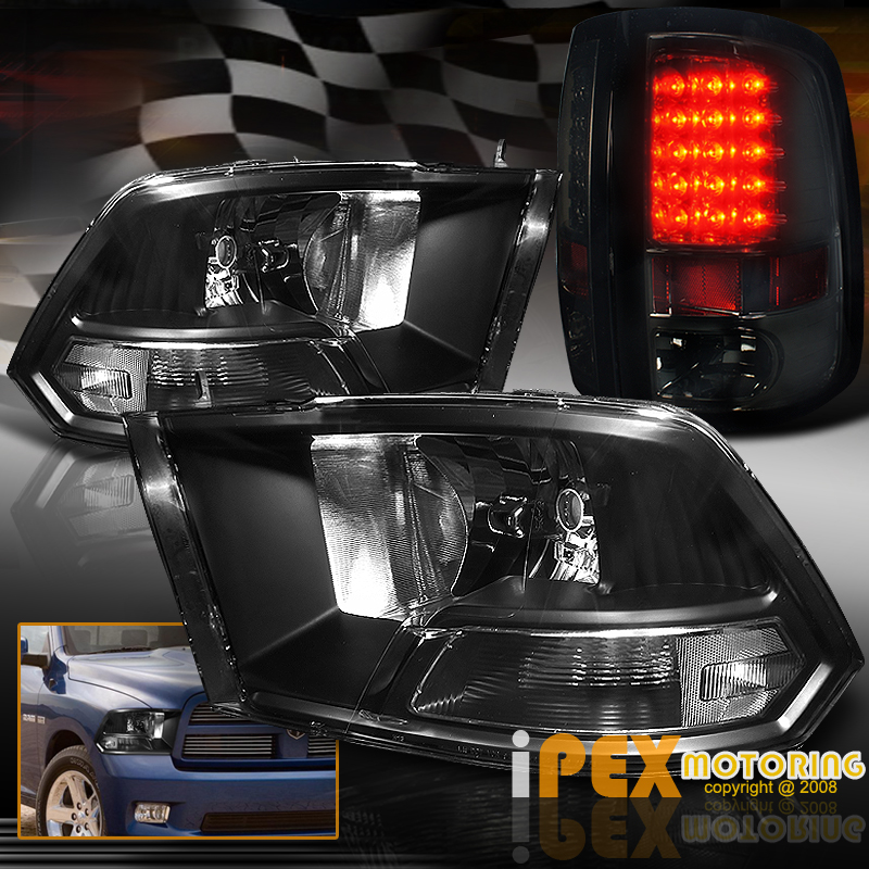 black 2009 2010 2011 2012 2013 2014 dodge ram headlights w. Black Bedroom Furniture Sets. Home Design Ideas