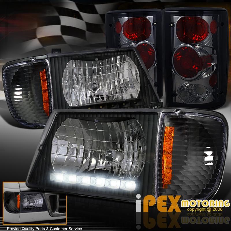 1995-2006 Ford E-Series Econoline LED Black Headlights W