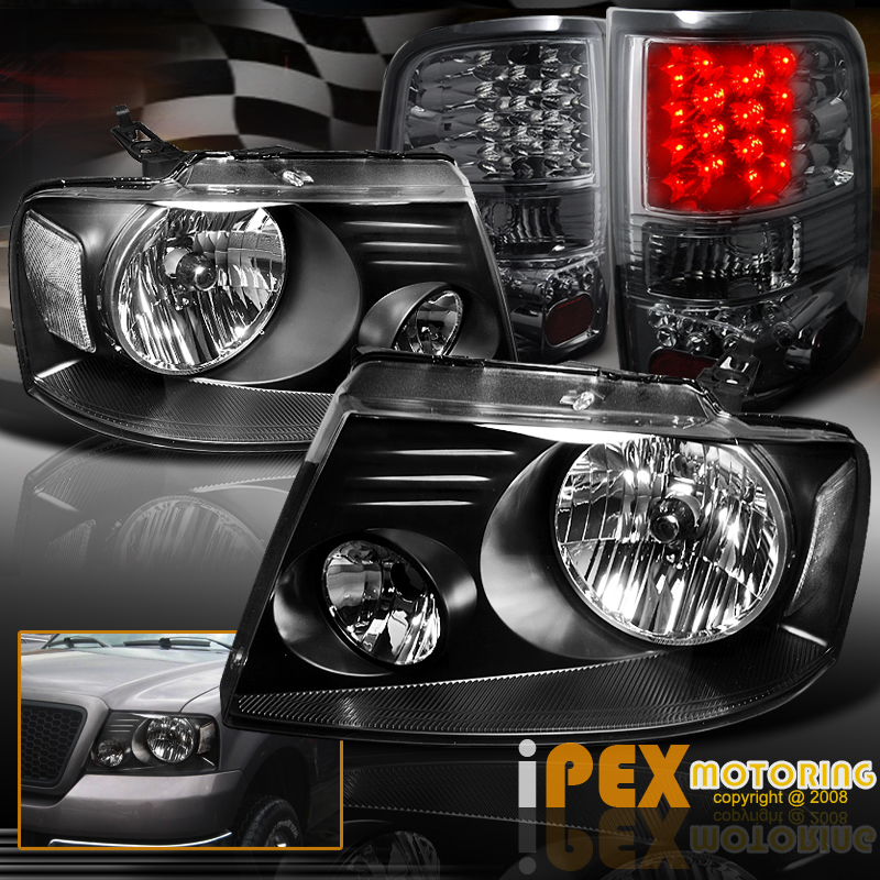 2005 2006 2007 2008 ford f150 f 150 black headlights led smoke tail. Black Bedroom Furniture Sets. Home Design Ideas